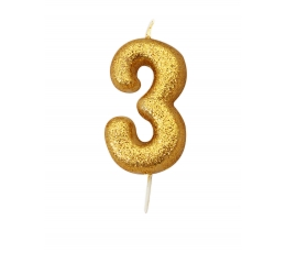 """Svecīte """"3"""" , zelta"""