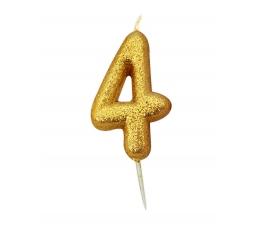 """Svecīte """"4"""" , zelta"""