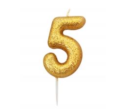 """Svecīte """"5"""" , zelta"""