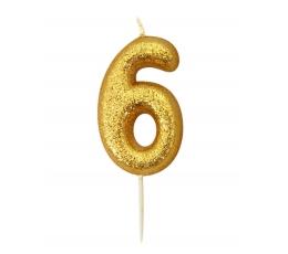 """Svecīte """"6"""", zelta"""