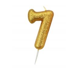 """Svecīte """"7"""" , zelta"""
