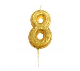 """Svecīte """"8"""" , zelta"""