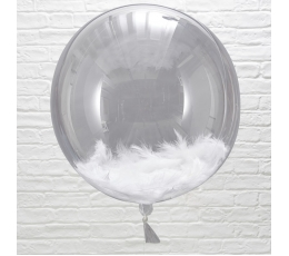 Прозрачные шарики -orbz, с белыми перьями (3 шт/ 45 см)