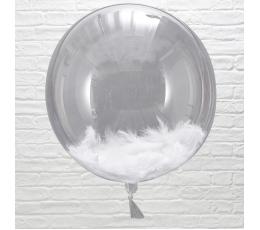 Caurspīdīgs-orbz balons, ar baltām spalvām (3 gab/ 45 cm)