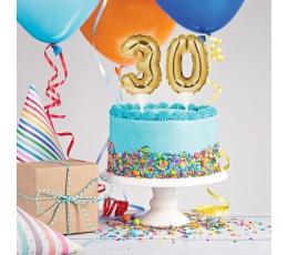 "Torto dekoracija-folinis skaičius ""30"", auksinis"