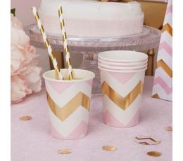 Glāzītes, rozā-zelta zigzagi (8 gab/ 266 ml)