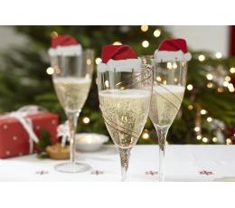 """Glāžu dekorācijas """"Ziemassvētku vecīša cepure"""" (10 gab)"""