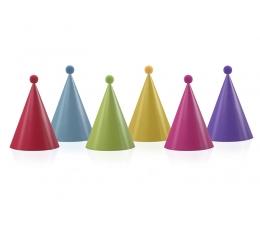 Cepurītes ar bumbuļiem, daudzkrāsainas (6 gab)