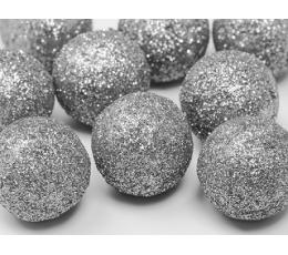 Dekoratīvas bumbiņas, sudraba -spīdīgas (9 gab/ 3 cm)