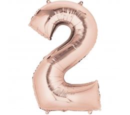"Folija balons, skaitlis ""2"", rozā zelts (85 cm)"