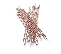 Garas svecītes, rozā-zelta (16 gab/ 18 cm)