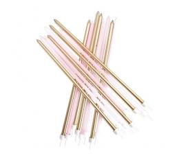Garas svecītes, rozā un zelta (16 gab/ 18 cm)