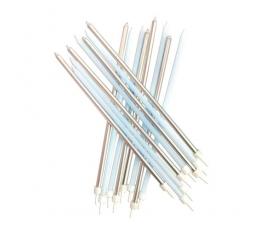 Garas svecītes, zilas/ sudraba (16 gab/ 18 cm)