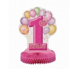 """Galda dekorācija """"Pirmā dzimšanas diena"""", rozā"""
