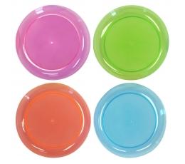 Plastmasas šķīvīši, caurspīdīgi-krāsaini/ neona (20 gab)
