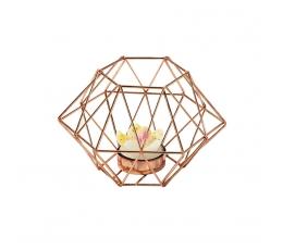 """Svečturis """"Ornamenti"""", rozā-zelts"""