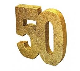 "Galda dekorācija ""50"", zelta (20 cm)"
