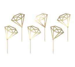 """Irbulīši dekorācijas """"Zelta dimanti"""" (6 gab)"""