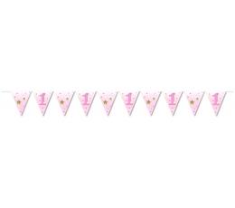 Karodziņu virtene, rozā zvaigznītes (3,7m)