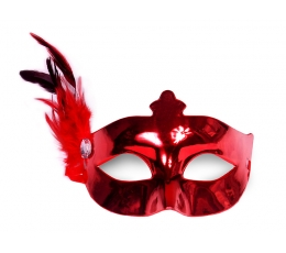 Domino maska ar spalvu, sarkana (1 gab)