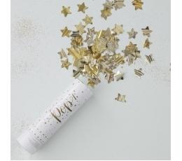 "Mini konfettī plaukšķene ""Zelta zvaigznītes"" (15 cm)"