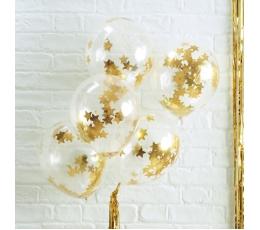Caurspīdīgi baloni ar zelta konfettī zvaigznēm (5 gab/ 30 cm)
