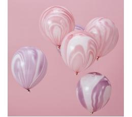 Baloni, rozā un violeti, ar marmora efektu (8 gab/ 30 cm)