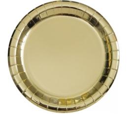 Тарелочки, золотые блестящие (8 шт/18 см)