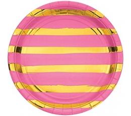 Šķīvīši, rozā ar zelta svītrām (8 gab/ 22 cm)