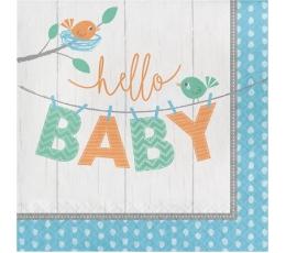 """Салфетки """"Птички, Hello Baby"""", синие (16 шт)"""