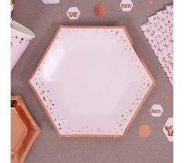 Šķīvīši, rozā ar rozā zelta zvaigznītēm (8 gab/ 20 cm)