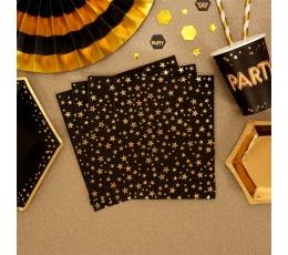 Салфетки, черные с золотыми звездочками (16 шт)