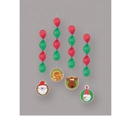 """Karināmās dekorācijas """"Ziemassvētki"""" (4 gab)"""