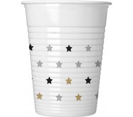 """Пластмассовые стаканчики """"Золотые, серебряные звезды"""" (8 шт/ 200 мл)"""