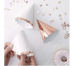 Mini cepurītes, rozā zelta krāsā (6 gab)