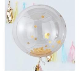 Caurspīdīgi-orbz baloni, ar spīdīgiem zelta konfettī (3 gab/ 91 cm)