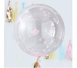 Caurspīdīgi-orbz baloni ar spīdīgiem rozā konfettī (3 gab/ 91 cm)