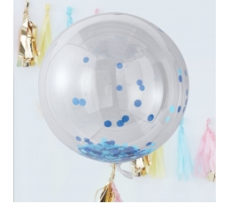 Caurspīdīgi-orbz baloni ar ziliem konfettī (3 gab/ 91 cm)