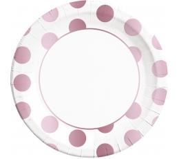 Šķīvīši, rozā zelta punkti (8 gab/ 23 cm)