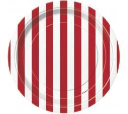 Šķīvīši, sarkani strīpaini (8 gab/18 cm)