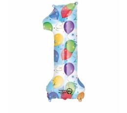 """Folija balons-skaitlis """"1"""", ar zīmējumiem (85 cm)"""