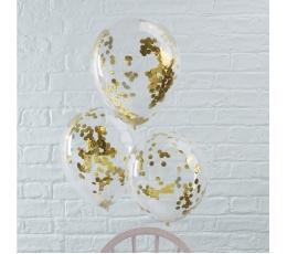 Caurspīdīgi baloni ar spīdīgiem, zelta konfettī (5 gab/ 30 cm)