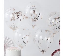 Caurspīdīgi baloni, ar rozā -zelta konfettī (5 gab/ 30 cm)