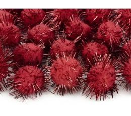 Dekoratīvas plīša bumbiņas, sarkanas ar spīdumu (2 cm/ 20 gab)
