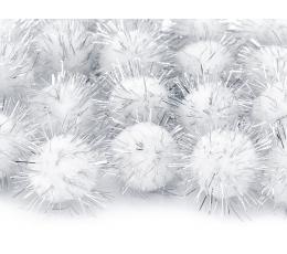 Dekoratīvas plīša bumbiņas, baltas ar sudrabu (2 cm/ 20 gab)