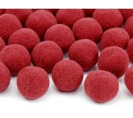 Plīša bumbiņas, sarkanas (2 cm/ 20 gab)
