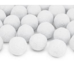 Декоративные плюшевые шарики, белые (2 см/ 20 шт)