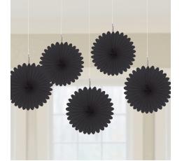 Karināmās dekorācijas, melni vēdekļi (5 gab/ 15 cm)