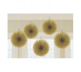 Karināmās dekorācijas, zelta krāsas vēdekļi (5 gab/ 15 cm)
