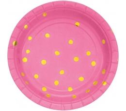Šķīvīšī, rozā ar zelta punktiņiem (8 gab/ 18 cm)